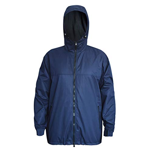 Waterproof Insulated Jacket for Men Women Sailing Fishing Rain Coat Crew Midlayer Fleece Lined Breathable Windproof (Navy/XL)