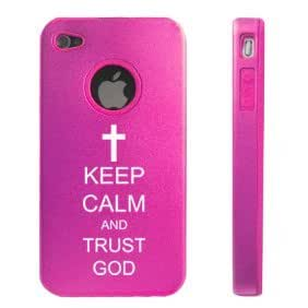 Apple iPhone 4 4S Hot Pink D6271 Aluminum & Silicone Case Cover Keep Calm and Trust God Cross