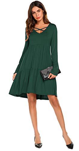 POGTMM Ruffle Loose Layered Swing Casual T Shirt Dress (Green, XL) (Tee Layered Green)