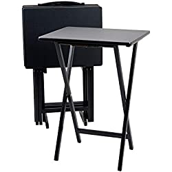 PJ Wood Folding 5-piece TV Tray & Snack Table - Black Finish Rubberwood