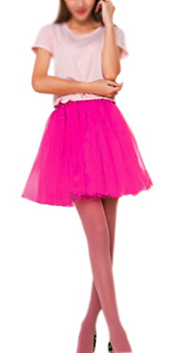 Women's, Teen, Adult Classic Elastic 3, 4, 5 Layered Tulle Tutu Skirt (One Size, HotPink 3Layer) (Tutu Skirts Adults)