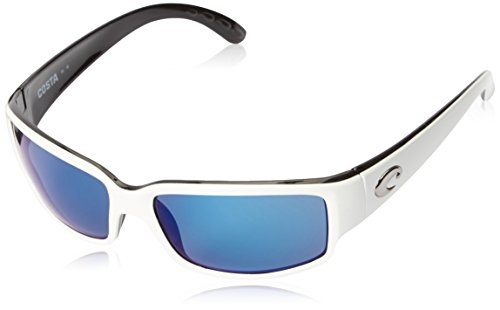 Costa del Mar Unisex-Adult Cabalitto CL 30 OBMP Polarized Iridium Wrap Sunglasses, White/Black, 59.2 - Costa Glasses Frames