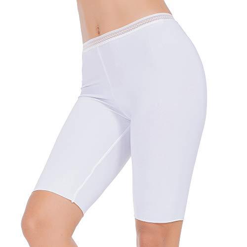 MANCYFIT Slip Shorts for Women Smooth Short Leggings Half Mid Thigh Legging Sleek Undershorts White Large