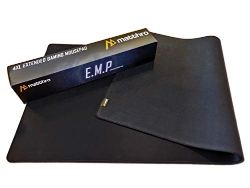 "Matthro 4XL EMP Extended Gaming Mouse Pad (54""x24""x0.16""), Huge Oversize Giant Mouse Pad, Full Black Smooth Fabric Cloth with Stitched Edges"