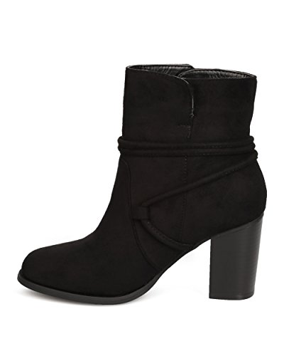 BETANI FE53 Women Faux Suede Wraparound Tasseled Chunky Heel Bootie - Black 5lWIMAV