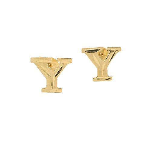 Script Name Earrings - 14k Yellow Gold Small Diamond Cut Initial Stud Earrings - Y