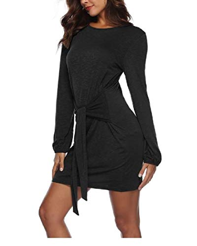 Coolred Dress Casual Mini Collar Bowknot Word Sleeve Bodycon Women Black Long wRqwTHU