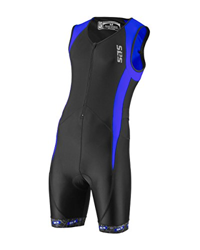 Men`s Triathlon Tri Race Suit - 2 Pockets Skinsuit Trisuit - Great Fit And Comfortable - Ideal From Sprint To Ironman (Black/Blue, - Ironman Suit Triathlon