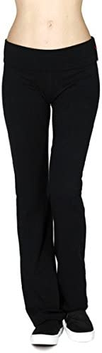 Active USA Regular Leg Stretch Cotton Fold Over Workout Yoga Pants 1