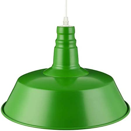 YUNZHI Beleuchtung Grüner Deckenlampenschirm Vintage Style Jet Black Küche Pendelleuchte Retro