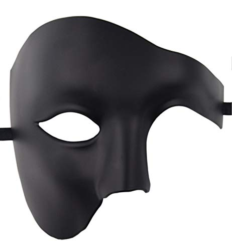 (KEFAN Mens Mask Halloween Mask Masquerade Mask Phantom of The Opera Half Face)