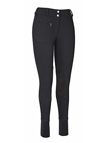 Rise Breech Low (TuffRider Women's Ribb Lowrise Wide Waistband Knee Patch Breech, Black, 24)