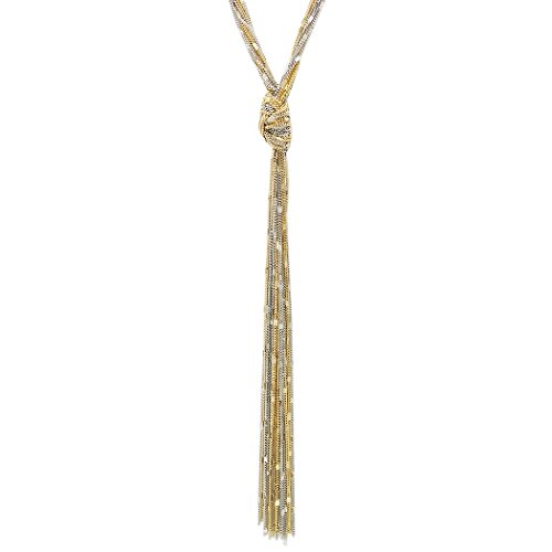 Rosemarie Collections Women's Fashion Jewelry Multi Strand Long Tassel Necklace (Two Tone)