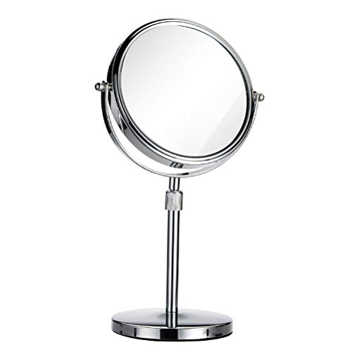 Makeup mirror 8-Inch Double-Sided Metal Table Top Adjustable Height Simple Bathroom -