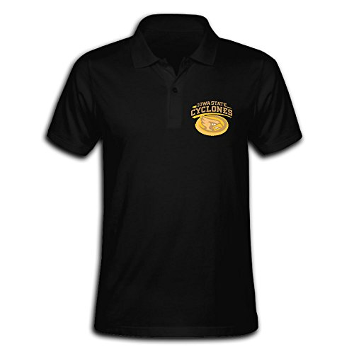 Men's Iowa State Cyclones Solid Short Sleeve Pique Polo Shirt Black US Size S