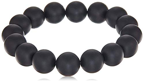 Smooth Round 12mm Matte Black Onyx Stretch Bracelet, 8