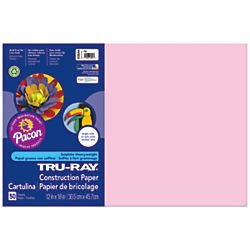 Pacon Tru-Ray Construction Paper, 12-Inches by 18-Inches, 50-Count, Pink (103044)