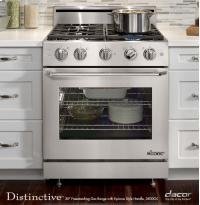 Dacor DR30GSNG Distinctive 30″ Freestanding Gas Range with Natural Gas 4.8 cu.ft. Convection Oven 4 Burners Epicure Style Handle with Chrome Trim and 6″ Backguard: Stainless