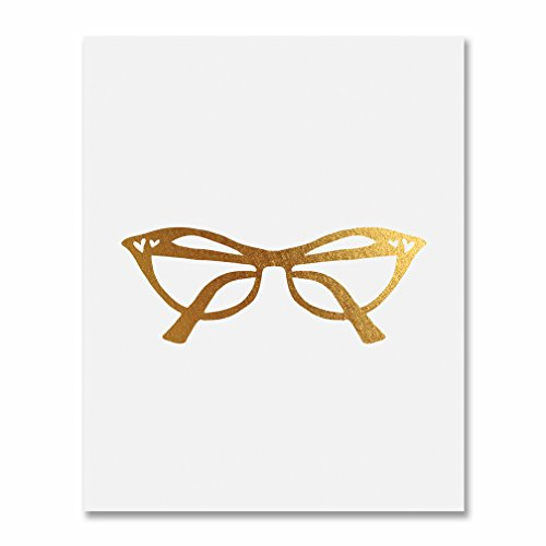 Cat Eye Glasses Gold Foil Vintage Print Fashion Poster Office Glam Wall Art Room Decor 5 inches x 7 inches C44 (Fashion Vintage Art)