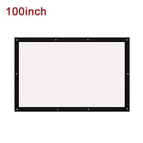 Auntwhale Foldable 16:10 HD Display 100 inches Projector Screen Diffuse Reflection Canvas Projection Curtain Home Cinema Outdoor Courtyards 135×215cm White Background + Black Edge by Auntwhale