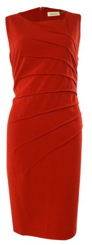 Calvin Klein Women's Asymmetrical Trim Stretch Sheath Dress (Red)