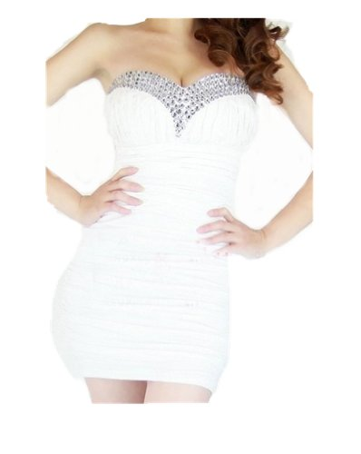 Women's Bling Rhinestone Beaded Short Prom Tunic Gown Strapless Cocktail Clubwear Party (Sexy Clubwear Rhinestone Mini)
