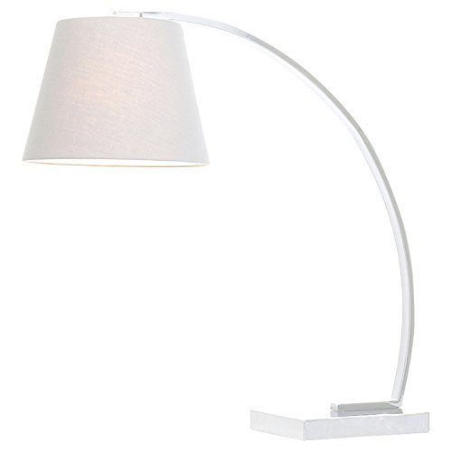 Kathy Kuo Home Axel Modern Classic White Marble Mounted Arc Table Lamp