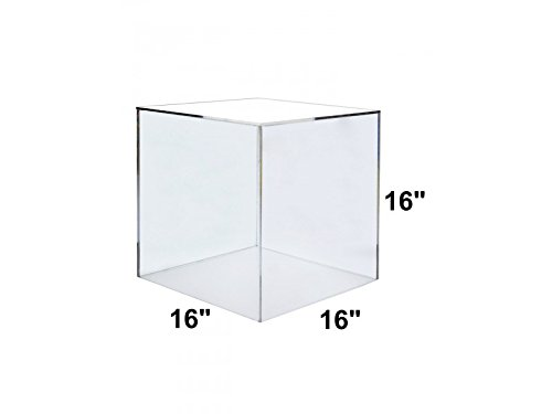 Marketing Holders Acrylic Box Case | 5 Sided Display Box | Acrylic Cube 16Hx16Wx16D - 3/16'' thick walls