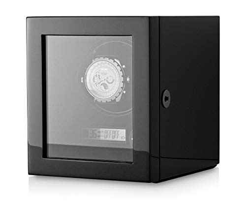 Watch Winder Case for Automatic Watches with LED Backlight and LCD Display (Black)