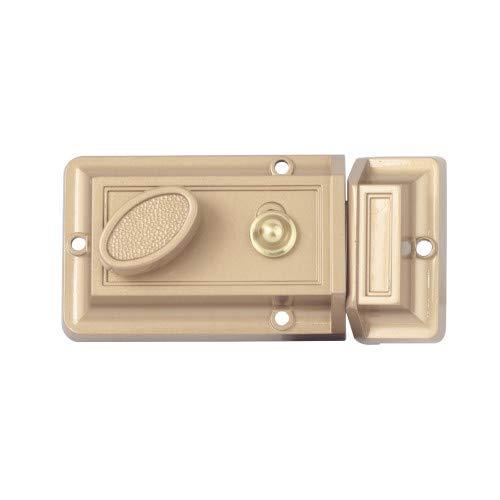 Ultra Hardware 840046 Brass Rim Single Cylinder Deadlocking Spring Latch Night Latch Slam ()