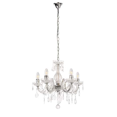 mirrea Mini Crystal Chandelier 5 Lights Crystal-Like Acrylic Clear Color