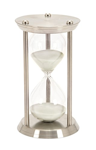 Deco 79 Metal/Glass 60 Minute Hourglass, 12 by 7-Inch (Hourglass Large)