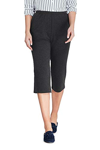 (Lands' End Women's Sport Knit Elastic Waist Pull On Capri Pants Dark Charcoal Heather)