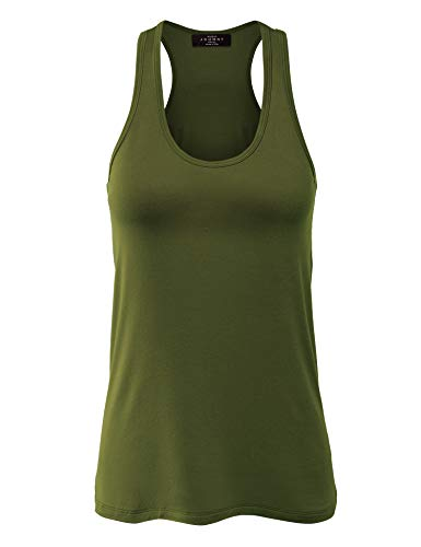 WT924 Womens Relaxed Racer Tank Top M Olive