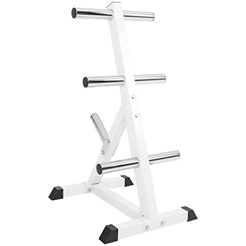 GORILLA SPORTS Olympic 2-inch Plate Tree White – Bar Rack with 7 Branches 770 lbs rated by GORILLA SPORTS