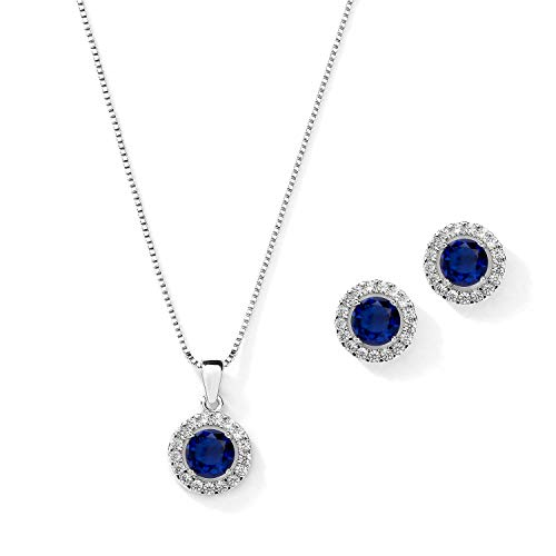 Mariell 10.5mm CZ Crystal Round Halo Wedding Necklace Jewelry Set for Brides & Bridesmaids - Sapphire
