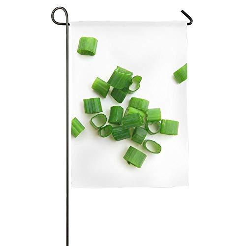 (AshleyLM Welcome Garden Flag Chopped Green Onions On White Summer Burlap Yard Decor,12x18/27x37)