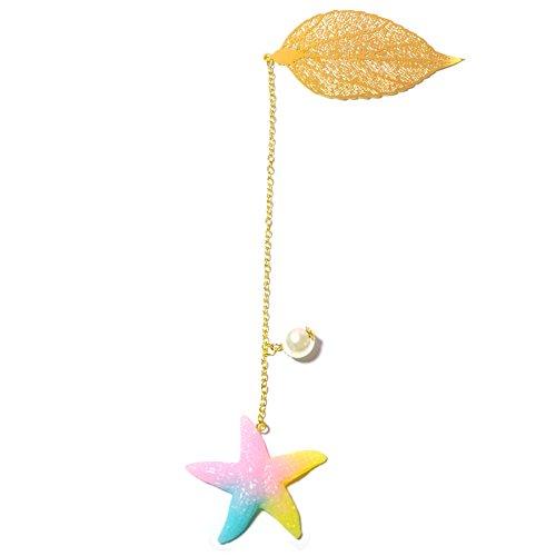 (Handmade Gold Leaf Metal Bookmark, for Kids and Women with Pearl Stars Tassel(Starfish Design))