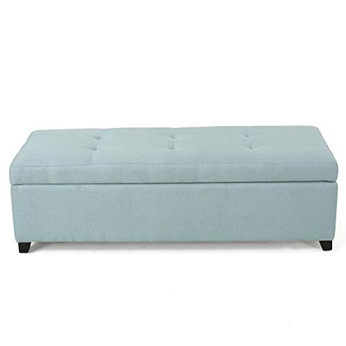Garrtag Light Blue Fabric Storage Ottoman