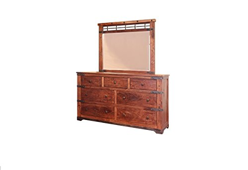 California King Natural Jones Quality Sturdy Solid Wood Master or Guest Bedroom Set. 4 Piece Group Includes Bed, Dresser, Mirror, One Nightstand by R&R (Image #2)