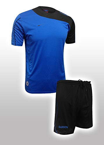 (Soccer Uniform with Jersey and Shorts- Lightweight, Quick-Drying Polyester Uniform for The Game - Comfortable Clothing That Keeps Moisture and Sweat Under Control (Royal Blue/Black, Adult Large))