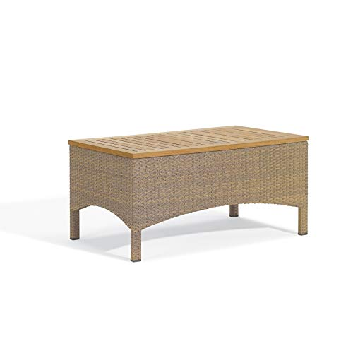 (Oxford Garden Torbay Coffee Table - Powder Coated Aluminum Frame - Antique Resin Wicker - Teak Top)