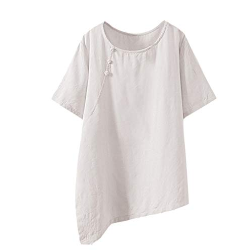 HEJANG Women's Summer Casual Printing Tops Cotton and Linen Button Blouse Loose Large Size T-Shirt (XXXXL, White1)]()