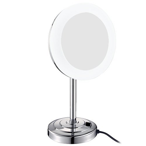 GURUN 8-Inch LED-Lighted Tabletop Vanity Mirror with 5x Magnification,Chrome Finish M2238D(8in,5x)