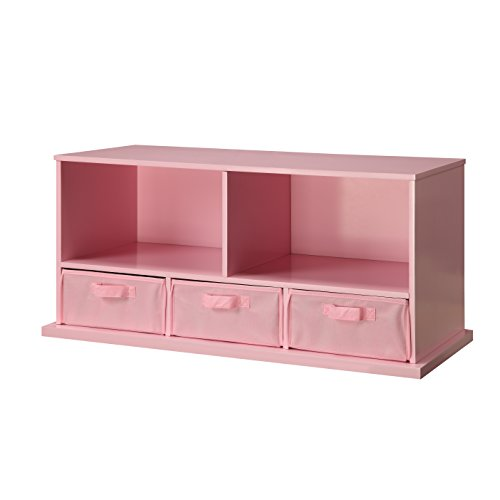 Wooden Storage Cubby Unit Bedroom Bench with 3-Baskets in Pink by Viv + Rae