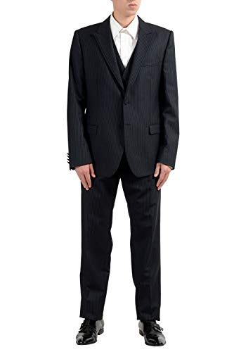 Dolce & Gabbana Men's 100% Wool Striped Three Piece Suit US 46 IT 56 ()