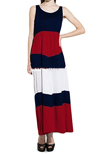 GAGA Women's Summer Print Contrast Sleeveless Maxi Dress 1 L
