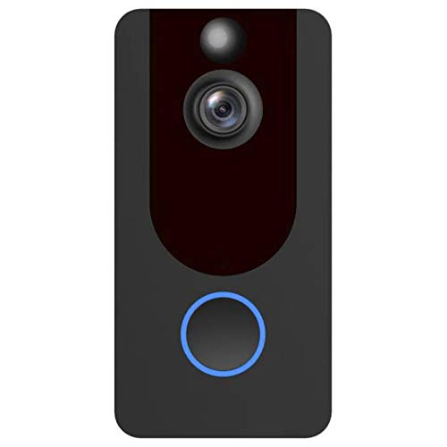 Smart Wireless WiFi Video Doorbell HD 1080P Security Camera with PIR Motion Detection Night Vision 140° Wide-Angle Lens Two-Way Talk and Real-time Video Ultra-Low Power,Remote Active Wake Up (Black)