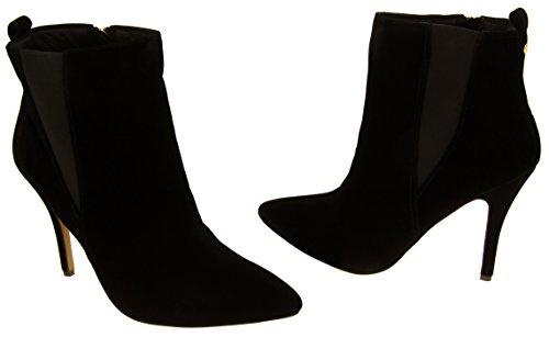 Mujer Ravel Tacón de aguja de terciopelo apuntó las botas del tobillo del dedo del pie Negro