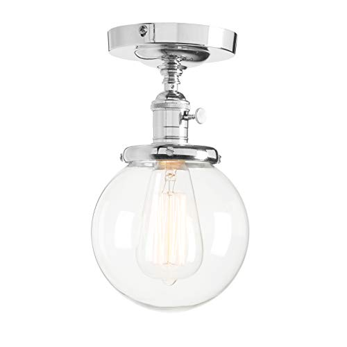 Permo Vintage Industrial Mini 5.9 Round Clear Glass Globe Semi Flush Mount Ceiling Light Fixture (Chrome)